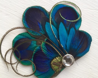 BRANDY Turquoise and Green Peacock Hair Fascinator, Clip, Couture Wedding