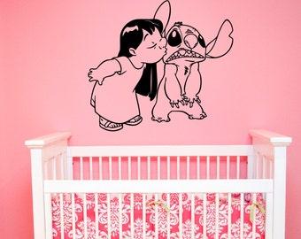 Lilo and Stitch Wall Decal Vinyl Sticker Disney Wall Art Decorations for Home Housewares Kids Girls Room Playroom Nursery Cartoon Decor lis4