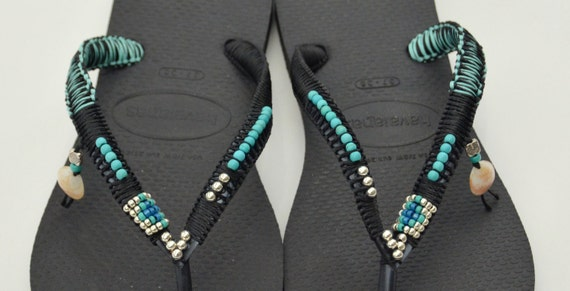 Black Handmade 100 Flop based Flat Beaded Turquoise Sandals Sterling Thongs Silver on Flip Havaianas Decorated Handmade amp; Bohemian wa781q
