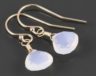Genuine Opal Earrings. Gold Filled Ear Wires. October Birthstone. Lightweight Earrings. Small Dangle Earrings. s17e016