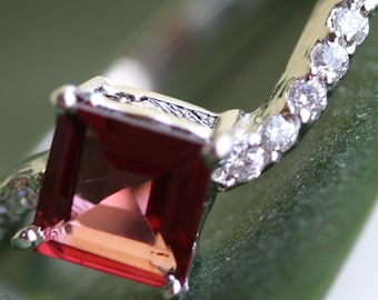 Princess Cut Garnet and CZ Accented Solitaire Ring
