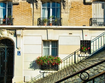Paris Photography - On a Street in Montmartre - French photo - Fine art travel photography - Art Deco - door, windowbox - red, sepia, teal
