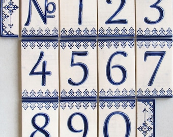 Handmade Ceramic House Numbers and letters BLUE DOLLS - small size