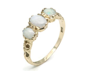 Opal Ring Gold, Gold Opal Ring, Women's Opal Ring, Trilogy Opal Ring, Women's Gold Opal, Women's Gold Ring, Gold Opal Ring, Opal Ring Gold