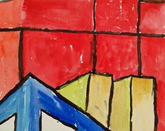 Abstract Watercolor Reductive Art Minimalist Painting