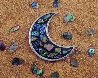 MOON HAIR CLIP // New Zealand Paua Abalone Shell ~ Mosaic Crescent ~ Hair Pin Accessory ~ Moon Clip ~ Witchy Gypsy ~ Festival ~ Gift For Her