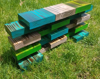 Blue, Purple & Green Wood Decor / Wood Shelf / Wall Decor / Wall Art / Burned Wood