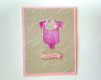 Baby card, New baby card, baby girl card, stampin up card, homemade card, baby shower card, baby shower gift, new baby gift, girl baby gift