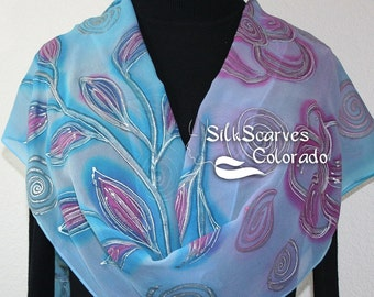 Silk Scarf Sky Blue, Ice Pink Hand Painted Silk Shawl ICE FLOWERS. Large 14x72. Silk Scarves Colorado. Birthday Gift. Gift-Wrapped.