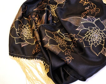 30% OFF! ON SALE! Silk Scarf,Silk Scarves, Hand painted Silk scarfHand painted scarves,Silk fringed scarf, Christmas gifts