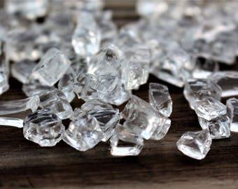 Reflective cube glass-Silver mirror glass-Shiny glass-Vase filler-Small glass chunks-Wedding glass-Mosaics