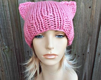 Pink Pussyhat Womens Hat - Pink Cat Beanie - Bubble Gum Pink Knit Hat - Pink Cat Hat Pink Hat Pink Beanie Pussy Hat