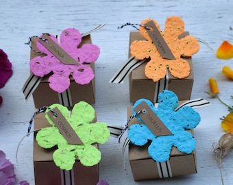 Paper flower gardener gift tags, plantable paper, gift for wife, flower seed bomb, flower seeds, recycled paper, flower seed kit, floral tag