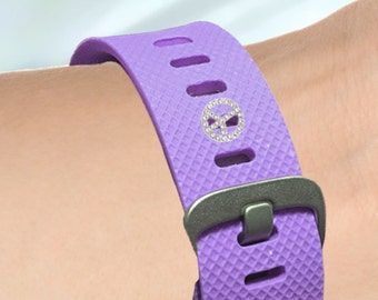 Fitness-Watch Charm, Crystal Peace Sign Charm; Personalize your watchband with style and flair. Fitbit Jewelry, Fitbit Charm