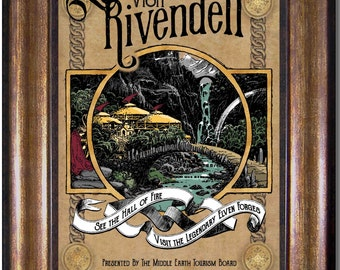 Lord of the Rings - Travel to Rivendell -  Visit Middle Earth  - Vintage Style Print - Sizes 5x7, 8x10, 11x14, 16x20, 18x24, 20x24, 24x36