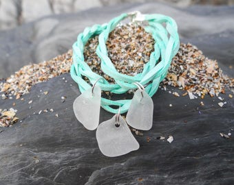 Sea glass bracelet, triple turquouse faux suede cord, rare beach glass, sea glass jewellery, seaglass jewelry, mermaid bracelet