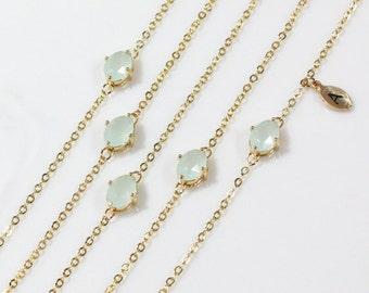 Bridesmaid gifts - Set of 4,5,6 - Leaf initial, Green aquamarine bracelet, Initial bracelet, Personalized bracelet, B0019-G