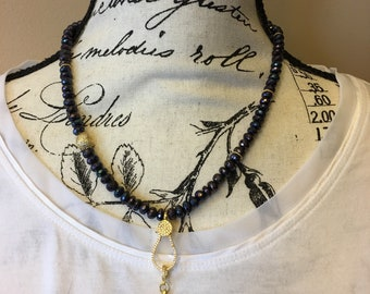 Black spinel necklace with pave pendant