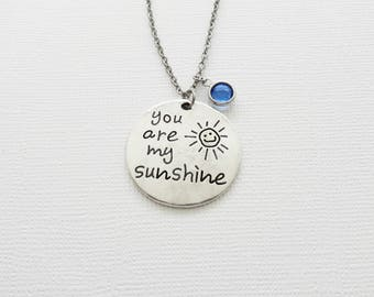 You Are My Sunshine Necklace, Daughter, Child Gift, Friendship Gift, Birthday Gift, Silver Jewelry, Swarovski Channel Birthstone Crystal