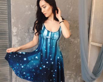 2 SIDED Space and Forest dress, celestial skies, firefly, milkyway galaxy universe, outer space astronomy, night sky, starry night