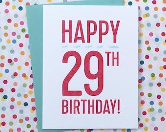 letterpress: 29th birthday card!
