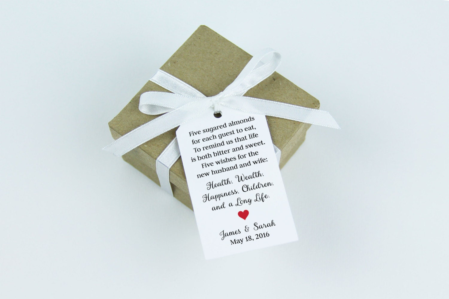 Jordan Almonds Favor Tag Dragee Wedding Favor Tag Almond