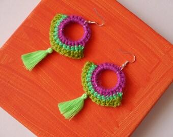 Purple and green Crochet statement earrings, festival jewellery, tassel earrings