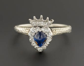 Sapphire & Diamond Crowned Heart Ring | 18k White Gold Heart Ring | Vintage Sapphire Engagement Ring | 18k White Gold Ring | Vintage Ring