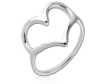 925 Sterling Silver Stamped Lovelia Hollow Heart Ring Size 6 or Size 7