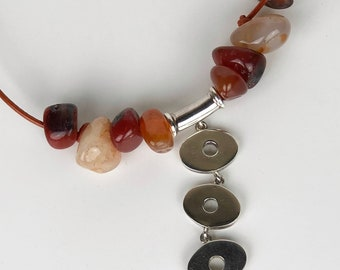 Sterling and leather necklace with agate stones.