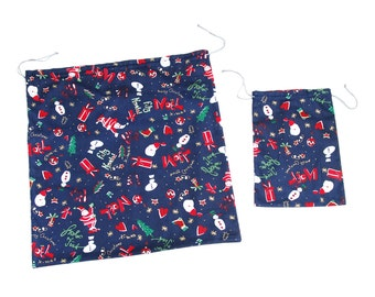 Christmas cotton fabric pouch set, blue red eco friendly gift wrap with Santa Clause, snowmen, gifts and trees pattern, handmade in Vienna
