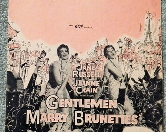 My Funny Valentine (from 'Gentlemen Marry Brunettes, 1950s Vintage Sheet Music) Jane Russell, Jeanne Crain Cover, Collectible