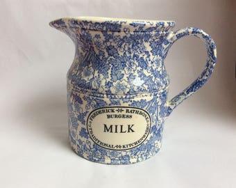 Milk Jug. Blue and Cream Milk Jug. Burgess
