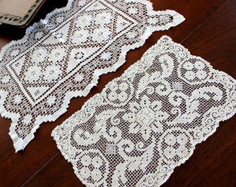 2 Filet Lace Doilies or Placemats, Filet Worked Lace Tray Cloths, Whites 14166