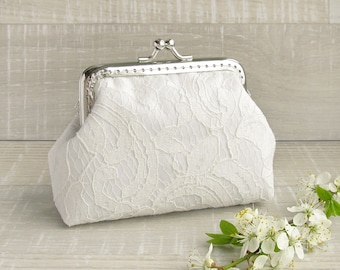 Lace wedding purse, white bridal small clutch with kisslock