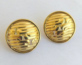 Vintage Monet Gold Button Post Earrings- Ribbed Open Work Circle Earrings, Gold Button Earrings - Designer Monet Earrings