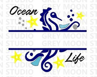 ocean, ocean life,seahorse, digital file,blue and yellow,svg,png,dxf,name bracket