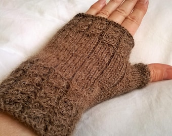 Hand knitted FINGERLESS Alpaca Brown cable