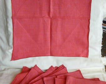 8 Red Linen Fabric Napkins~Vintage Linen Napkins~Cloth Napkins~Christmas Napkins~Valentines Napkins~4th of July Napkins~1980's Linen Napkins