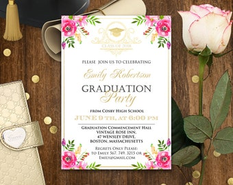 Floral Graduation Announcement Printable - High School Graduation Party Invitation - Girl Graduation invitation College Template Download