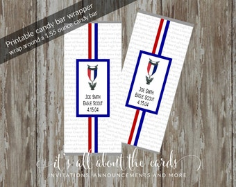 """Eagle Scout Court of Honor Candy Wrappers-""""Honored"""" Customized Design"""
