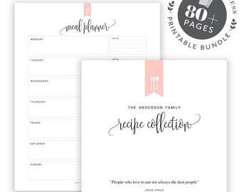 meal planning printable bundle editable meal planning kit recipe binder kit printable editable grocery list recipe book recipe template