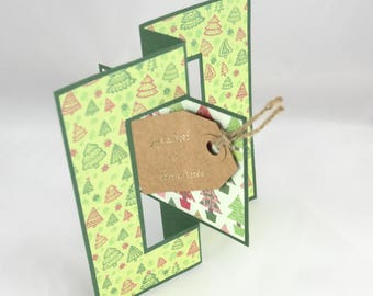 Card Flip Flop - Merry Christmas & happy new year in shades of green