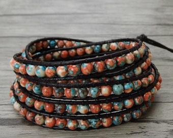5 wraps bracelet Boho Bead bracelet bead wrap bracelet Leather wrap bracelet Gypsy bead leather bracelet Bohemian bracelet Jewelry SL-0079