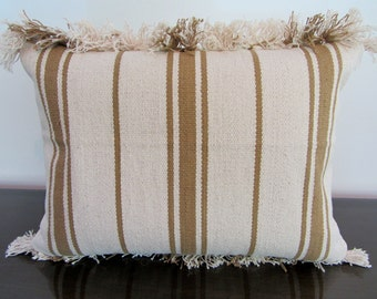 Natural and Taupe stripe, Fringed edge, Heavy duty cotton cushion cover 40x55cm