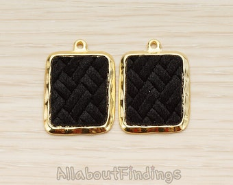 PDT1584-02-G-B // Glossy Gold Plated Black Colored Synthetic VELVET Covered Rectangle Picture Frame Charm Pendant, 2 Pc