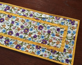 Floral Quilted Table Runner, Spring Flower Table Runner, Yellow Purple Blue Runner Quilted, Mother's Day Gift, Summer Table Decor
