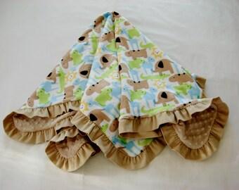 Baby Blanket Minky Jungle Animals Corduroy Ruffle Medium Size Blue Green Yellow Beige