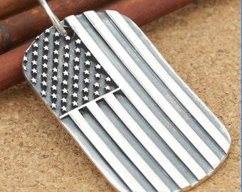Retro style  925 Sterling US Flag  Pendant  Charm diy    12.6g