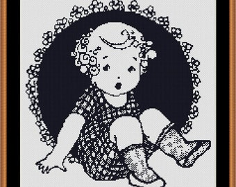 Victorian Era Vintage Little Girl Counted Cross Stitch Pattern in PDF for Instant Download